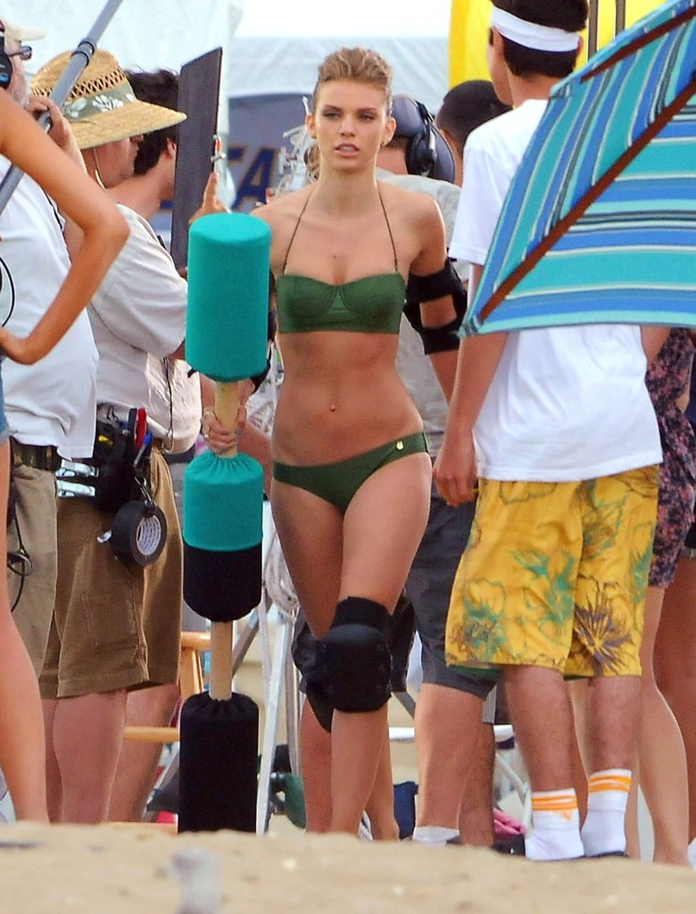 AnnaLynne McCord put on a green bikini for a scene in 90210.