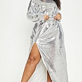 PrettyLittleThing Silver Sequin Backless Maxi Dress