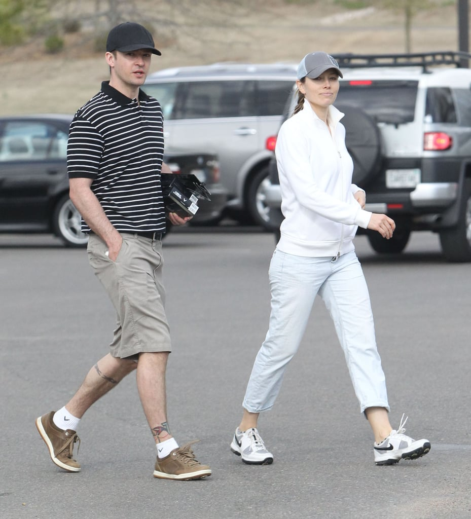 Justin Timberlake and Jessica Biel took a stroll after a round of golf at the Mirimichi Golf Course in Tennessee.