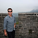 Tom Cruise played tourist at the Great Wall of China.