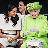 Queen Elizabeth II with Meghan, Duchess of Sussex, at Mersey Gateway Bridge in 2018.