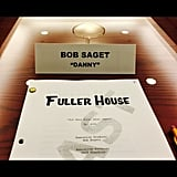 Bob Saget, the man of the (original) house, arrived to the table read.