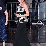 Meghan tried a halter-style top on for size in Safiyaa at the 2018 Royal Variety Performance.