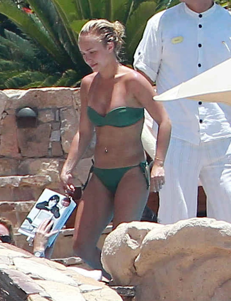 Hayden Panettiere wore a strapless bikini poolside in Cabo San Lucas over the weekend as she relaxed with her boyfriend, Scotty McKnight, and some friends. Hayden and Scotty, who is a player for the New York Jets, have been dating for about a year. The actress is enjoying some downtime following some recent work promoting her new ABC pilot, Nashville. The musical TV show will star Hayden as a country singer who butts heads with a rival when their record label tries to get them to collaborate. It will be Hayden's return to playing a series regular since Heroes wrapped in 2010. Hayden has done some other work on the small screen, lending her voice to an episode of American Dad! and starring as Amanda Knox in a Lifetime movie about the college student's murder trial in Italy.