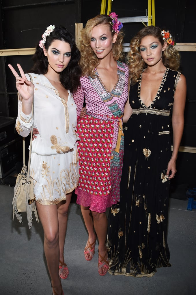 Gigi posed backstage with Kendall Jenner and Karlie Kloss, who opened the DVF show in her splashy wrap-dress.