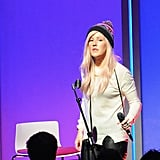 Ellie Goulding performed live for the crowd at the new PopSugar studios in LA.