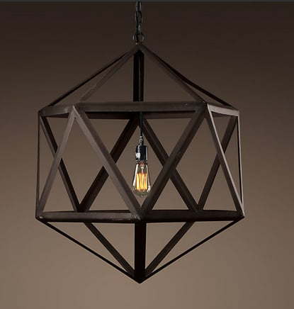 The Steel Polyhedron Pendant ($375) is constructed of sturdy steel in an industrial finish with an aged patina.