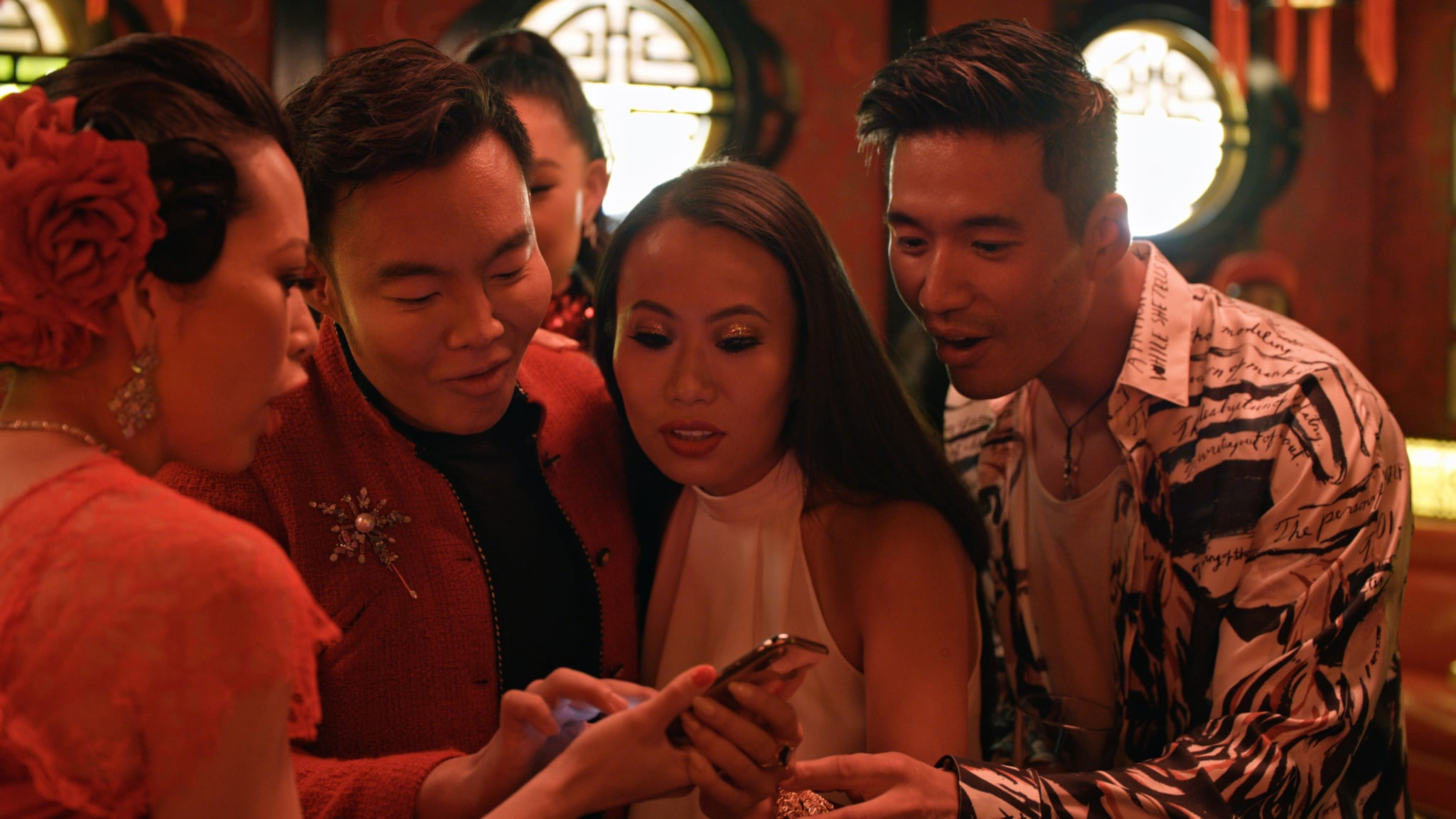 BLING EMPIRE, from left: Christine Chiu, Kane Lim, Kelly Mi Li, Kevin Kreider, What's in Anna's Shower?', (Season 1, ep. 103, aired Jan. 15, 2021). photo: Netflix / Courtesy Everett Collection