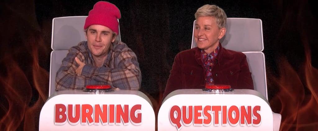 "Justin Bieber Plays ""Burning Questions"" With Ellen DeGeneres"