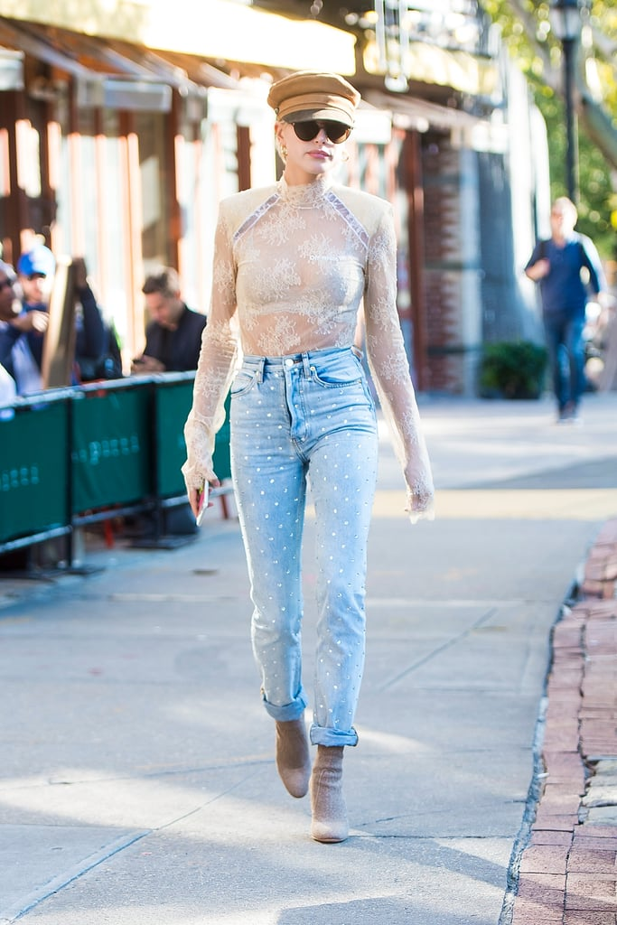 Hailey Also Wore a Sheer Top Tucked Into a Pair of Embellished Jeans