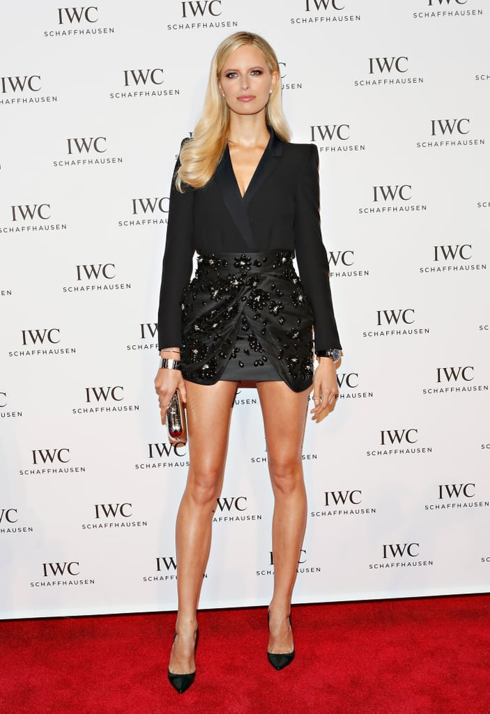 """Karolina Kurkova, in a slick tuxedo-inspired Blumarine jacket and skirt combo, gave us the """"legs for days"""" look at the For the Love of Cinema event."""