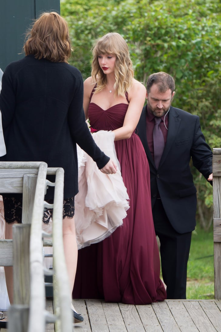 Taylor swifts maroon bridesmaid dress popsugar fashion australia taylor swifts bridesmaid dress says look at me in the most ombrellifo Choice Image