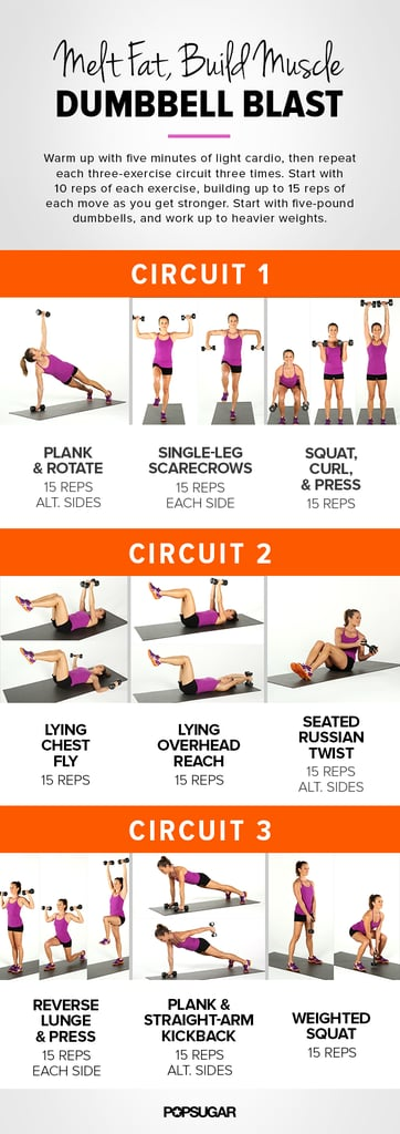 weight training for women | dumbbell circuit workout | popsugar fitness