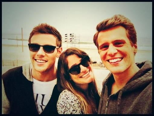 """Lea Michele shared a cute photo with her """"two favorite boys,"""" boyfriend Cory Monteith and best friend Jonathan Groff. Source: Twitter user msleamichele"""