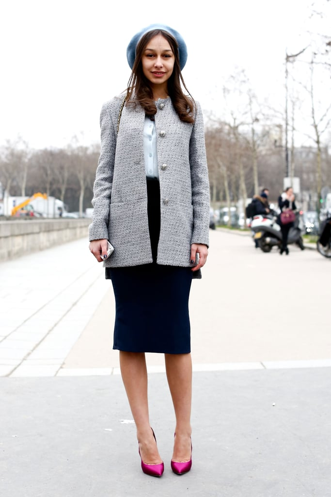 Sweet and ladylike with a Parisian touch via a knit beret.
