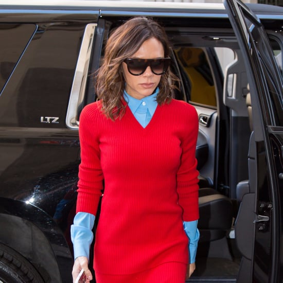 Victoria Beckham Wearing Matching Red Outfit