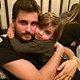 Kourtney Kardashian shared birthday wishes for Scott with this adorable shot of him and Mason.