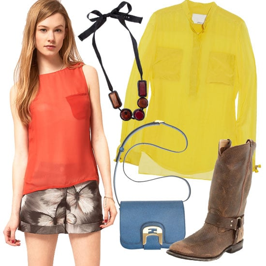 Make your chunky harness boots work for every season — lighten the load on top with a sheer yellow blouse, butterfly print shorts á la Jason Wu Spring '12, and earthy-toned jewelry. Ted Baker Butterfly Print Short ($160) 3.1 Phillip Lim Silk-Chiffon Blouse ($350) Marni Chunky Bead Necklace ($414) Frye Wyatt Harness Boot ($288) Fendi Chameleon Small Saddle Bag ($980)