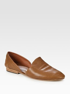 Boyfer Leather Cut-out Penny Loafers ($420)