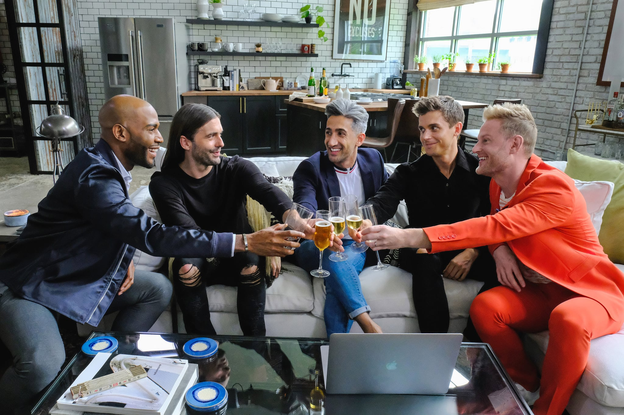 QUEER EYE, (aka QUEER EYE FOR THE STRAIGHT GUY), from left: Karamo Brown, Jonathan Van Ness, Tan France, Antoni Porowski, Bobby Berk, (Season 1, airs Feb. 7, 2018). photo: Carin Baer / Netflix / Courtesy: Everett Collection