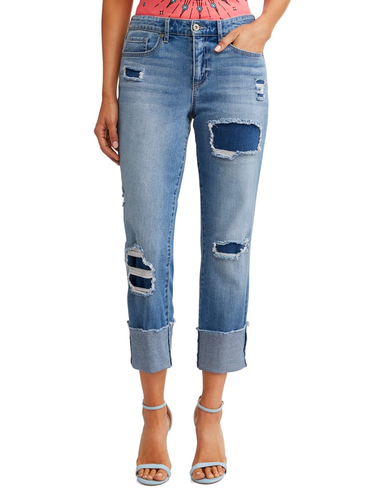 Veronica Destructed Cuffed Straight High Waist Jean