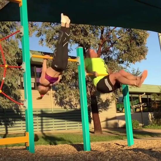 Dad Attempts Daughter's Gymnastics Moves