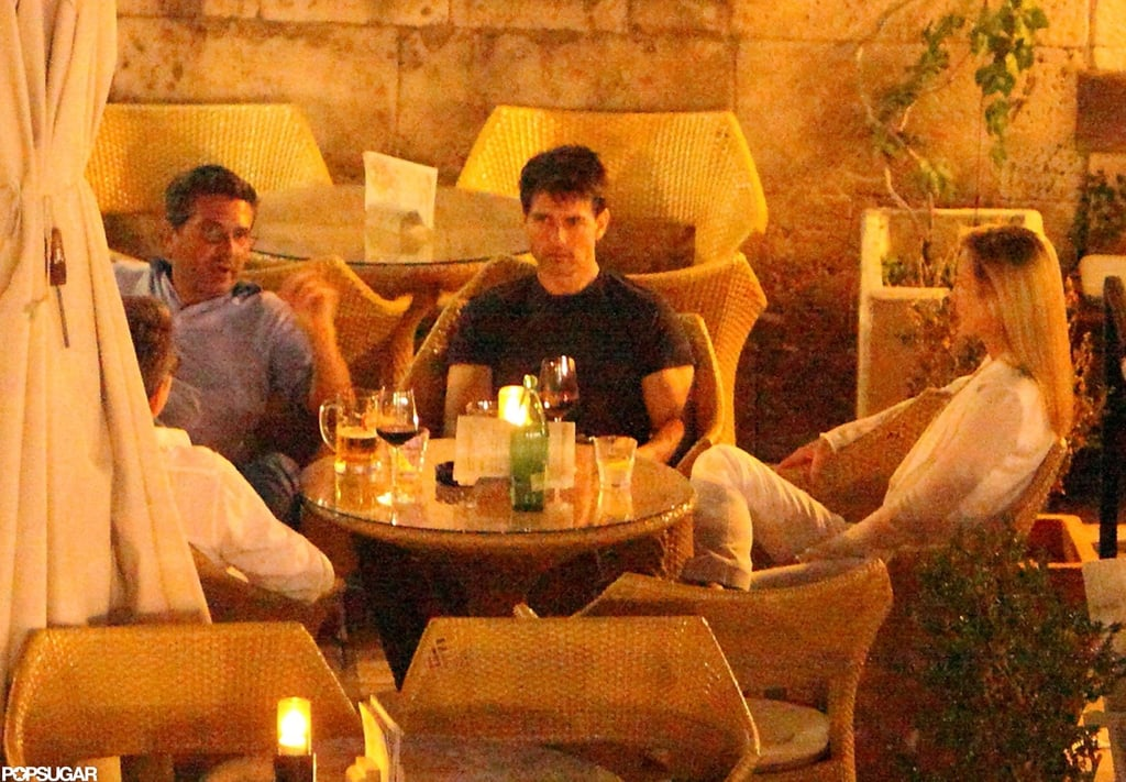 Tom Cruise went casual in a black t-shirt.