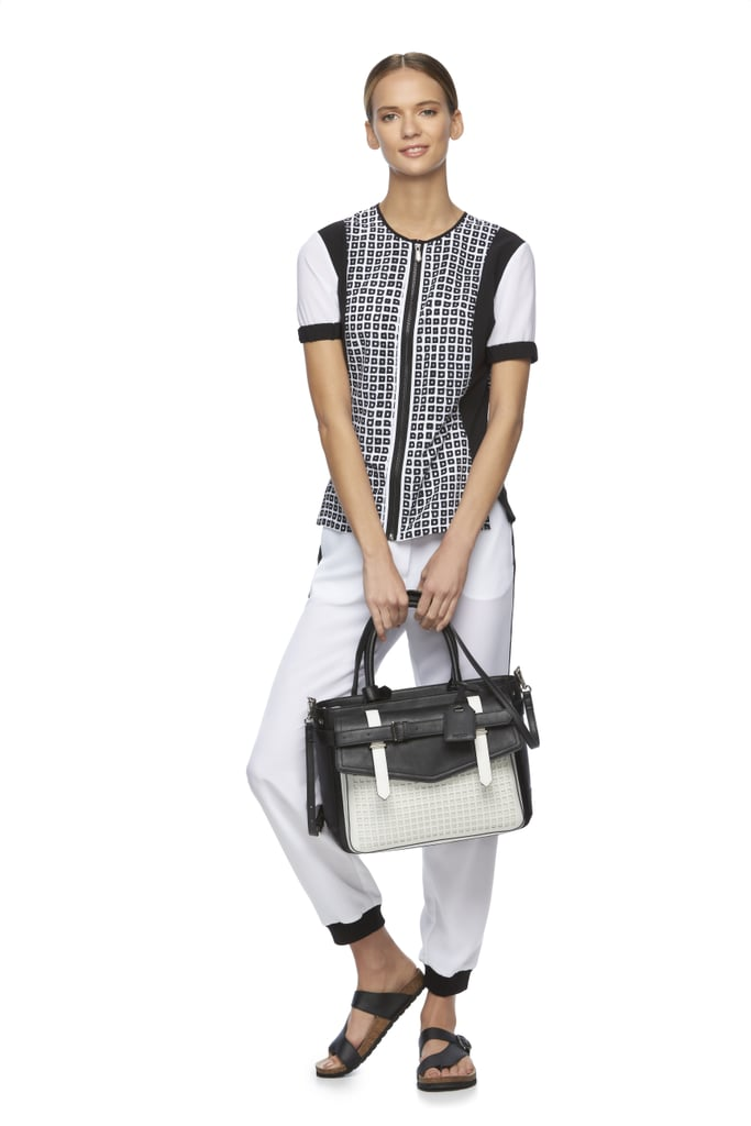 Colorblock Blouse ($40), Soft Jogger Pants ($45), and  Boxer Belted Large Satchel ($90)