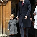 Prince George and His Candy Cane on Christmas Day 2016