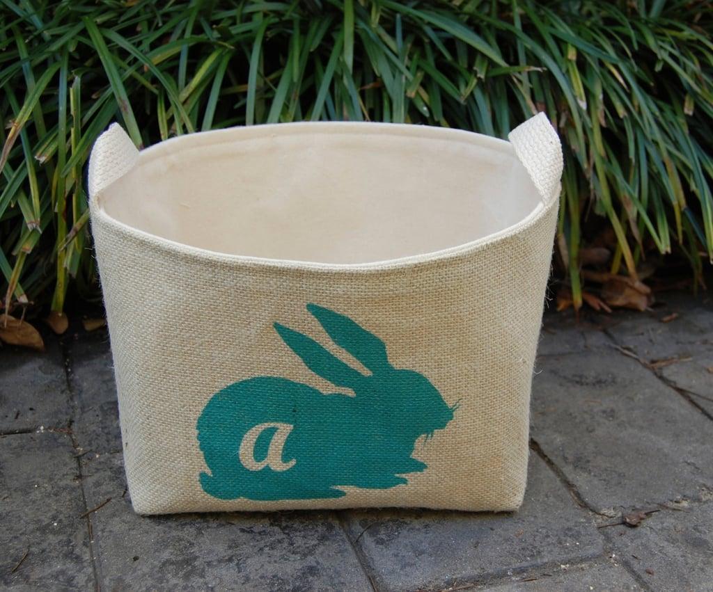 Bunny Silhouette Custom Burlap Bin