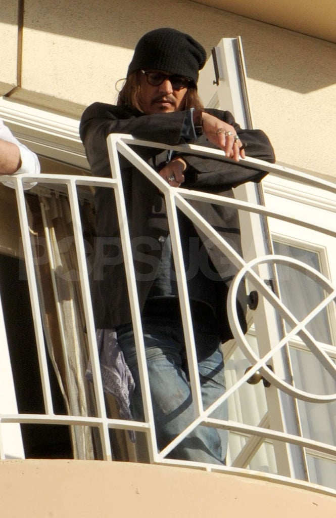 Pictures of Johnny Depp on Balcony of Four Seasons Hotel in LA