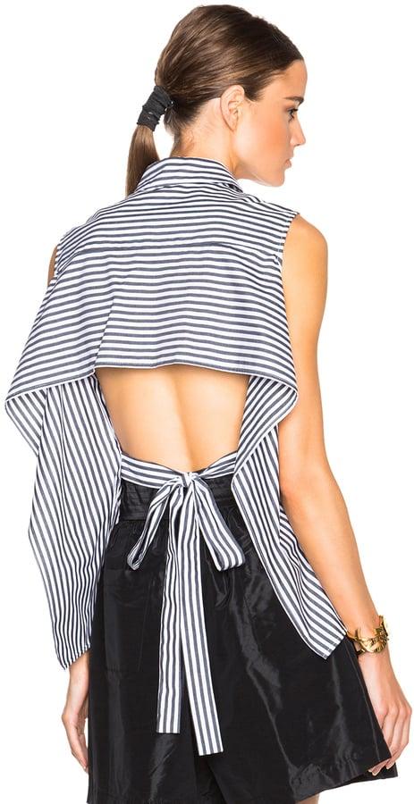 Tome FWRD Exclusive Striped Poplin Tie Back Top ($472.48)