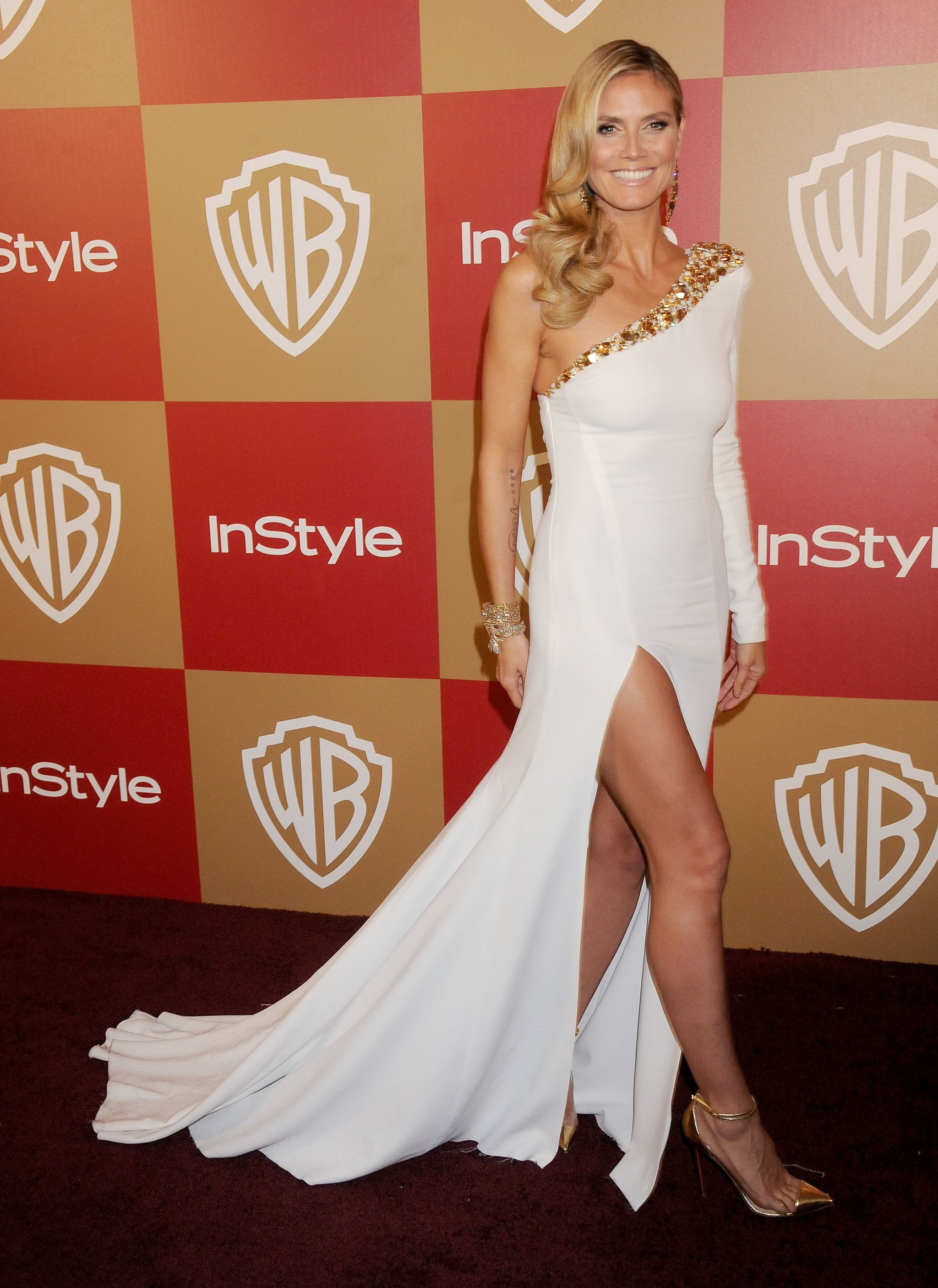 Heidi Klum in a White Alexandre Vauthier at the 2013 Golden Globes InStyle Party