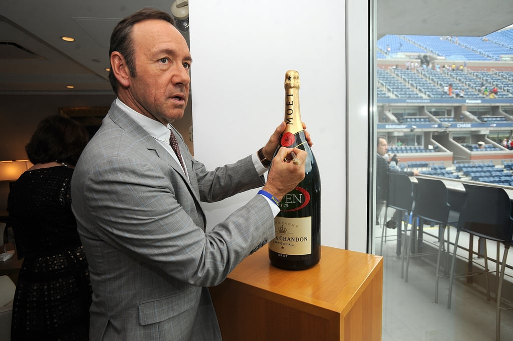 Kevin Spacey autographed a bottle of Moët & Chandon during the opening night gala.