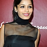Freida Pinto at the Salvatore Ferragamo boutique opening in Milan.