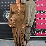 The couple struck their signature pose when they arrived at the MTV Video Music Awards in August 2015.