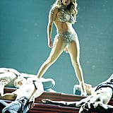 Jennifer Lopez made all the men fall on a staircase.