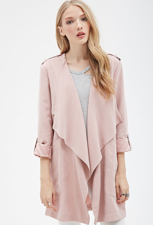 Forever 21 Faux Suede Draped-Front Jacket
