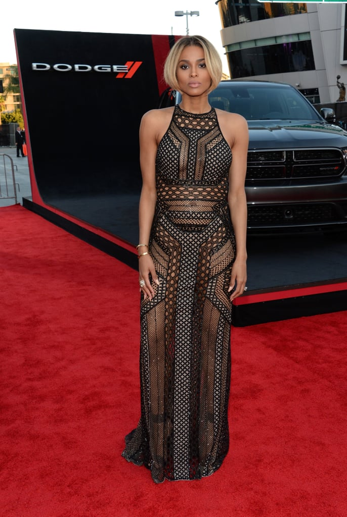 Ciara proved she's got the goodies and she's not afraid to show them, owning a sheer geometric J. Mendel gown and a short, sleek bob.
