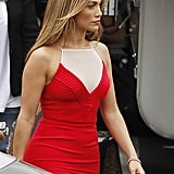 Jennifer Lopez was radiant in red on the American Idol set.
