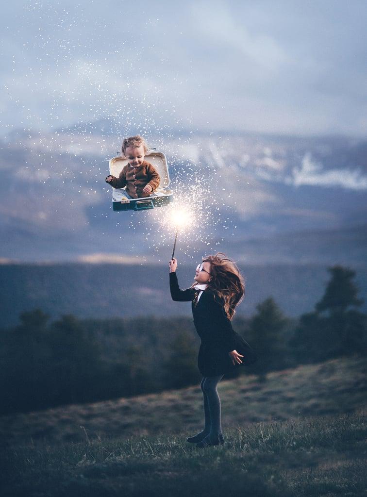 Sending her little brother flying!