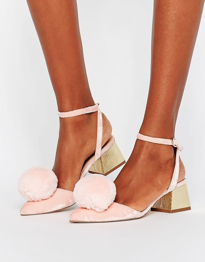 ASOS Saucy Pom-Pom Mid Heels