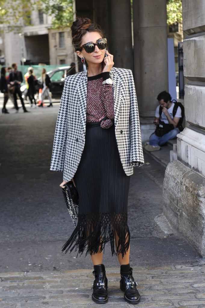 We're loving this fringed skirt-meets-tough loafers combo.