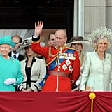 Pictured: Princess Anne, Queen Elizabeth II, Prince Edward, Sophie, Countess of Wessex, Prince Philip, Autumn Phillips, Camilla, Duchess of Cornwall, and Prince Charles.