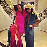 Kevin Hart and Eniko Parrish in '70s Costumes