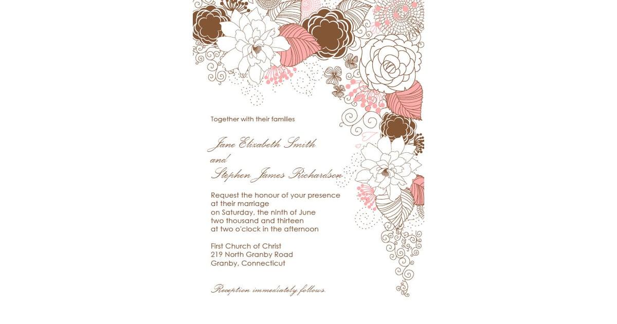 Garden With Floral Border Wedding Invitation | Free Printable ...