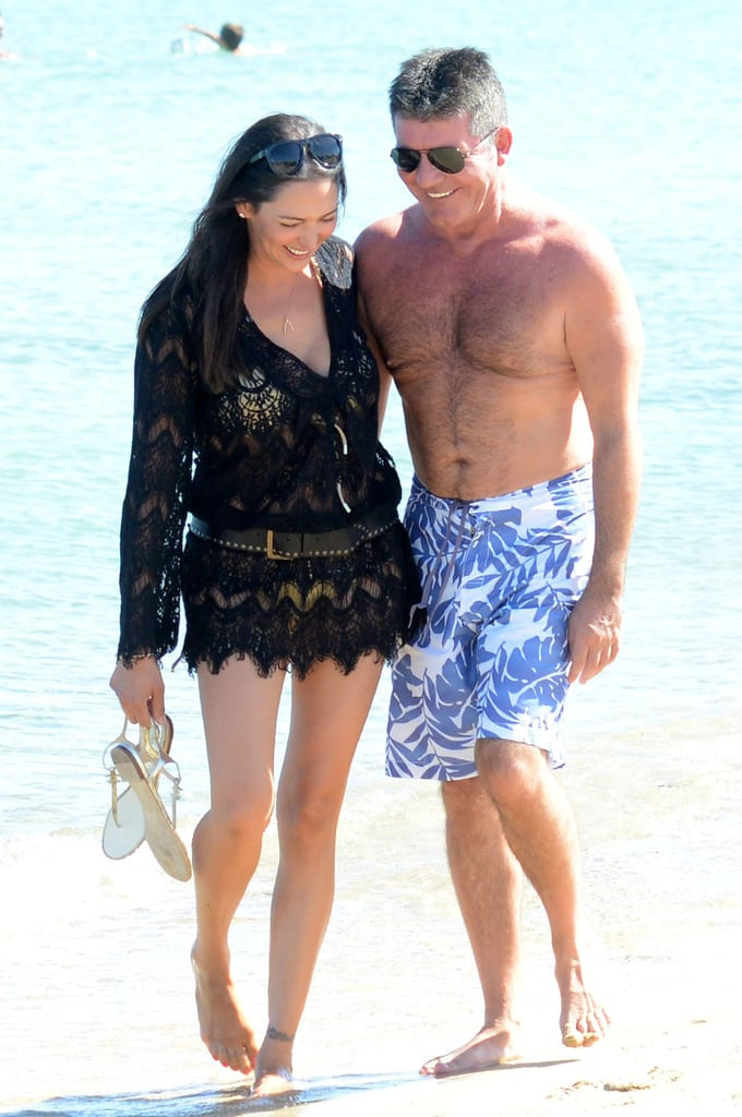 On Saturday, Simon Cowell and Lauren Silverman took a sweet stroll on the beach in Saint-Tropez.