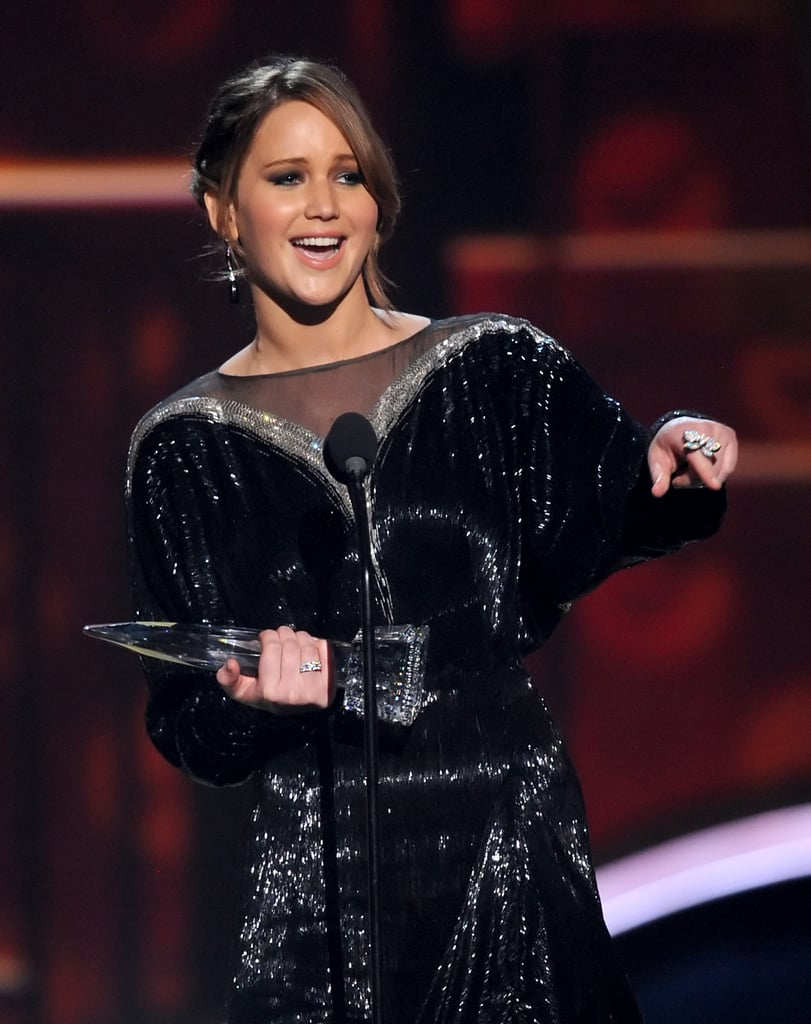 Jennifer Lawrence accepted her Favorite Female Actress award at the PCAs.