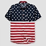 Men's American Flag Short Sleeve Woven Button-Down Shirt