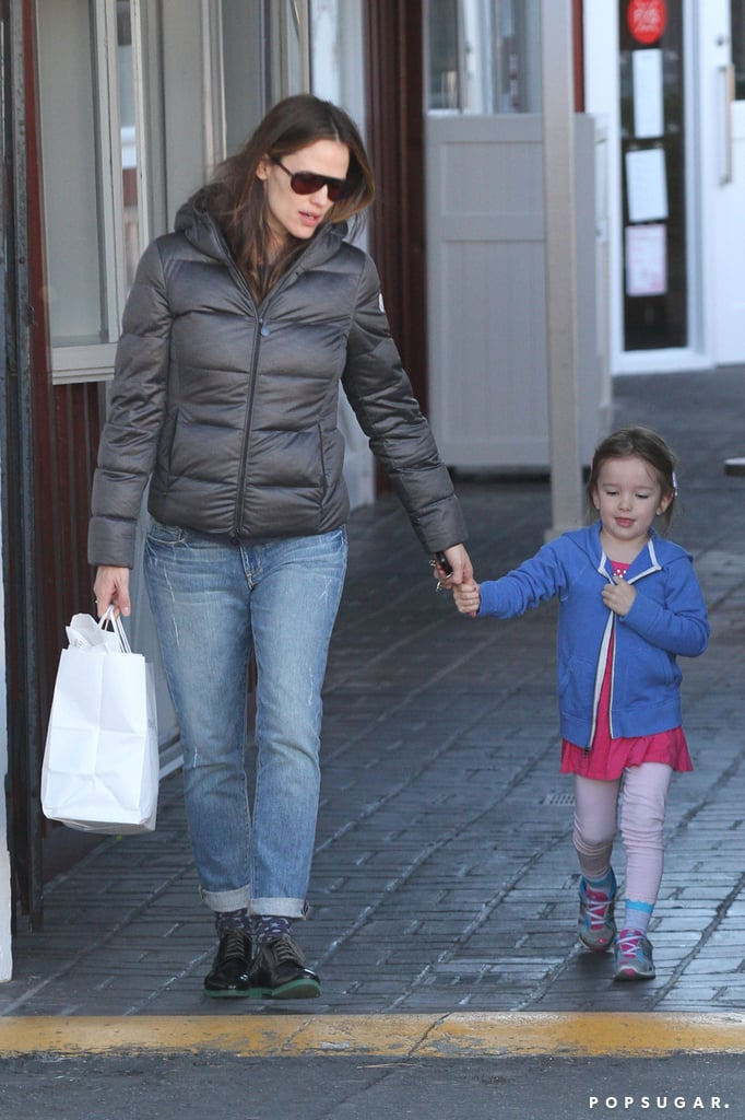 Jennifer Garner held hands with Seraphina Affleck on a trip to their regular breakfast joint in LA's Brentwood neighborhood today. The mother of three has been on the go as much as ever lately but still managed to fit in time with her Oscar-winning husband, Ben Affleck. Ben and Jen had a romantic dinner date at Sam's by the Beach in Santa Monica last week, where it appeared Ben was growing back his Argo beard after the celebratory shave on Oscars night. The couple continued their date-like demeanor even through yesterday's Stuart House Benefit. Ben and Jen cochaired John Varvatos's 10th annual fundraiser, showing PDA as they arrived. Stuart House isn't the only cause close to their hearts — they recently annouced they will be raising money for A-T Children's Project by matching donations up to $25,000, funding a search to cure ataxia-telangiectasia.
